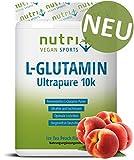 L-GLUTAMIN PULVER 500g Ice Tea Peach - 99,95% rein - vegan & hochdosiert - Nutri-Plus L-Glutamine Ultrapure Powder - Pfirsich-Eistee Geschmack - hergestellt in Deutschland