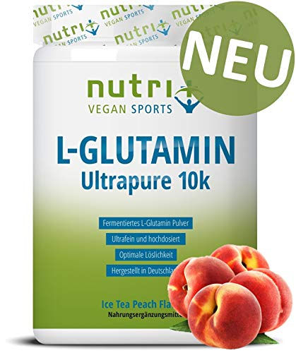 L-GLUTAMIN PULVER 500g Ice Tea Peach - 99,95% rein - vegan & hochdosiert - Nutri-Plus L-Glutamine Ultrapure Powder - Pfirsich-Eistee Geschmack - hergestellt in Deutschland - Nutri-nahrungsergänzungen