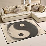 COOSUN Aquarelle Ying Yang Tapis Tapis Anti-dérapant Tapis de Sol Nattes pour Living Room Chambre 91,4 x 61 cm (36 x 24 Pouces) 36 x 24 Pouces Multi