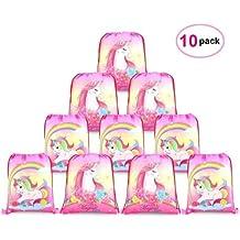 Konsait Lot 10 Unicornio Bolsa de Cuerdas Sackpack Poliéster Bolsa de Hombro Casual Mochilas Escolar Infantil