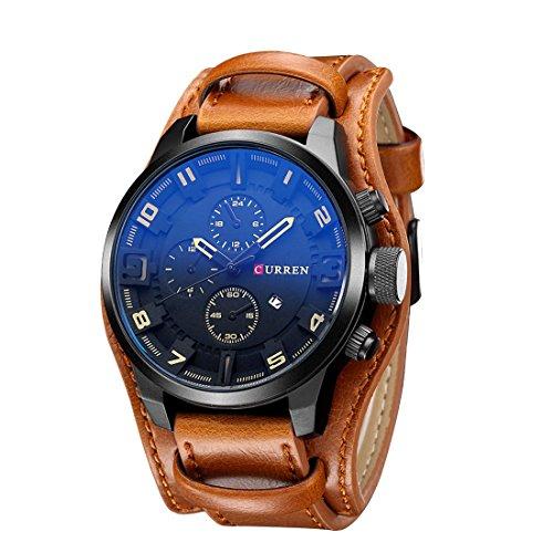 Herren Uhr ZEIGER Analog Quarz Leder Armbanduhr Braun Schwarz Herrenuhr mit Datum Funktion (Braun)