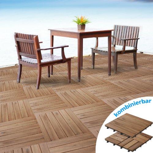 casa pura Terrassenfliesen Set Arden | Holz, Akazien | 11 Stück - 1m²