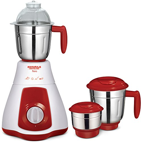 Maharaja Whiteline Flora MX-133 550-Watt 3-Speed Mixer Grinder with 3 Jar (Red/White)