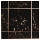 Self Adhesive Marble Effect Anti Peel Slip Stick On Flooring Floor Tiles Design Kitchen Wall Bathroom Hard Wearing 4ft Squared Coverage Gloss Finish Floorboards [ Pack Of 4 ]