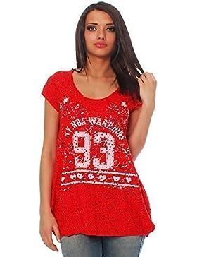 Moda Italy Camiseta de Manga Corta para Mujer Camiseta de Camisa para Puente Blusa de Manga Larga Estampado de...