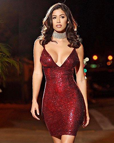 SHISHANG Robe de dames mode trois couleurs sélection taille lâche à haute altitude robe de soirée discothèque red