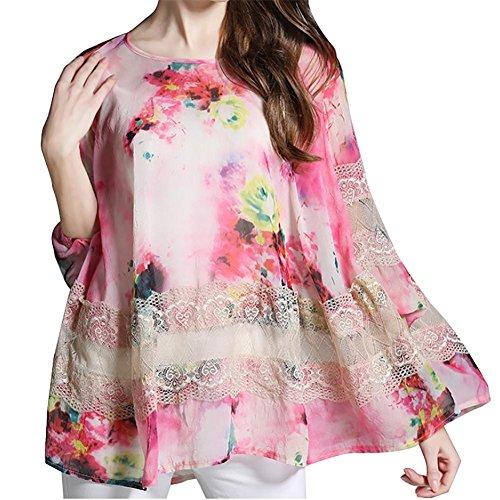 MCC Camicie donna di grandi dimensioni maniche allentato pizzo chiffon splicing lungo cappotto , pink , xxl