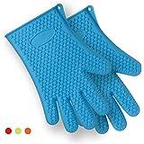 FOXAS® silicona guantes para asar, hornear guantes 1 par, barbacoa guantes y agarraderas perfecto anti-calor,buena herramienta para la cocina-a prueba de agua hirviendo, de un tamaño más (azul)