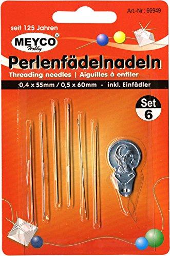 Perle ago, confezione da pezzi–perline infilare aghi 0,4x 55mm e 0,5x 60mm per infila