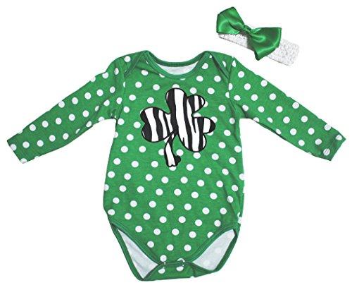 St Patrick Day Dress Zebra Clover Green L/s Jumpsuit Bodysuit Baby Romper Nb-18m (3-6 Monat) (Baby St Patricks Day Outfit)