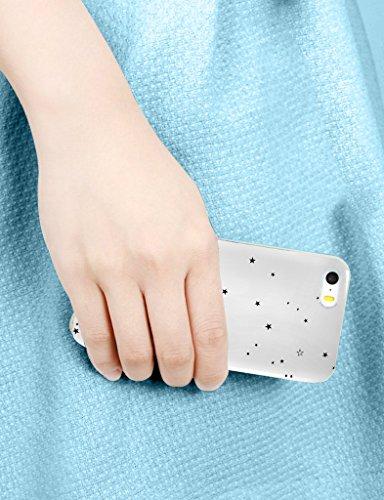 iCreat Handy Case Schutzhülle Tasche Hülle für Apple Iphone 6 4.7'' 4.7 inch - Sterne Schwarz Weiß ETOILE24
