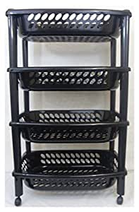 4 etagen k che gem se obst trolley rack badezimmer aufbewahrung trolley schwarz neu. Black Bedroom Furniture Sets. Home Design Ideas