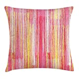 VICKKY Pinstripe Throw Pillow Cushion Cover, Firework Inspired Flame Colors Blended Pastel Tone Flame Color Stylized Lines, Decorative Square Accent Pillow Case, 18 X 18 Inches, Multicolor