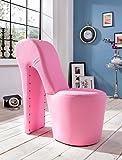 Schuhsessel Eve 42x99x97 cm Kunstleder pink High Heel Stuhl Designersessel mit Nieten Hocker Designerstuhl