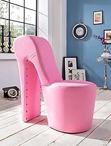 schuhsessel eve 42x99x97 cm kunstleder pink high heel stuhl designersessel mit nieten hocker. Black Bedroom Furniture Sets. Home Design Ideas
