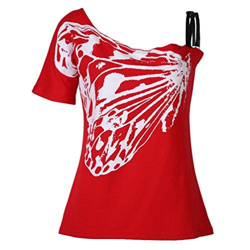 MILEEO Damen Sommer Off-Shoulder Blusen Schulterfreie Oberteil Sexy Party Club T-Shirts Rot