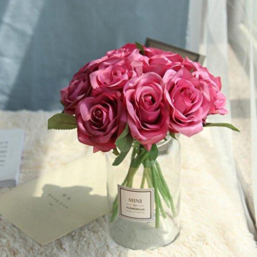 Sunday Unechte Blumen,Künstliche Deko Blumen Gefälschte Blumen Seidenrosen Plastik 5 Köpfe Braut Hochzeitsblumenstrauß für Haus Garten Party Blumenschmuck (Hot pink)