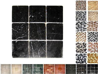 1Netz Marmor Mosaik Nero 100 von Mosaikdiscount24 auf TapetenShop
