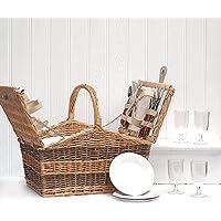 Swancote Cestino da picnic da 4 persone, con accessori & scomparto refrigerante integrato, idea regalo