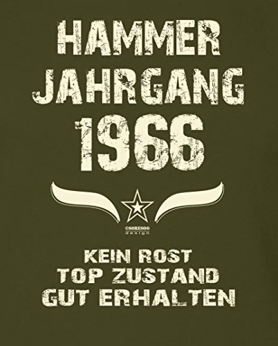 Geschenk-Idee zum 51. Geburtstag :-: Herren Geburtstags T-Shirt mit Jahreszahl :-: Hammer Jahrgang 1966 :-: Geburtstagsgeschenk Männer :-: Farbe: khaki Khaki