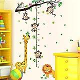 Stickerkoenig XXL Wandtattoo Kinder Meßlatte Wandsticker Kinderzimmer Äffchen Tiere Löwe Giraffe Affen am Ast