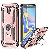LeYi Hülle Galaxy J6 Plus Handyhülle,360 Grad Drehbar Ringhalter Cover TPU Magnetische Bumper Schutzhülle mit HD Folie Schutzfolie für Case Samsung Galaxy J6 Plus/Galaxy J6+ Handy Hüllen Rosegold