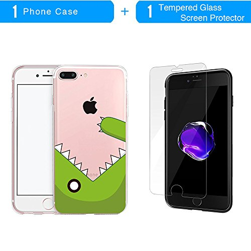 Coque iPhone 7 Plus, TrendyBox Transparent PC Hard Cover avec soft TPU Pare-chocs pour iPhone 7 Plus avec verre trempe film de protection (Fille et Swan) 121