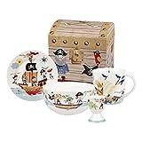 Little Rhymes Churchill China Queens Juego de plato, tazón, taza y huevera para el desayuno con caja, diseño de los Piratas de los Siete Mares