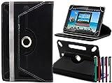 LOLO® Samsung Galaxy Tab 3 Lite 7.0 3G Tablet PC 360 Grad Rotation Universal PU Leder Hülle Abdeckung Ständer Tasche Beutel (Tablet Case - Cover- Folio) - Schwarz