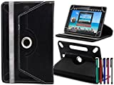 LOLO® Acer Iconia Tab A3-A10 / A11 10.1 Inch 360 Grad Rotation Universal PU Leder Hülle Abdeckung Ständer Tasche Beutel (Tablet Case - Cover- Folio) - Schwarz