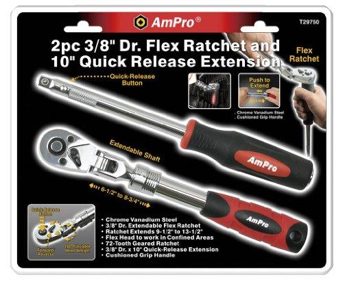Ampro T29750 3/20,3 cm Drive Clé à douille à libération rapide et 25,4 cm extension, 2 pièces