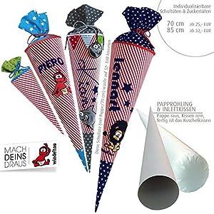 Schultüte, Zuckertüte in 70 cm oder 85 cm, rot/weiß gestreift inklusive Papprohling mit vielen Personalisierungsmöglicheiten, als Kuschelkissen weiter nutzbar