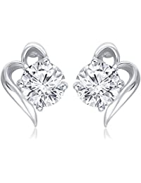 Lady Touch Cz White Diamond Silver Plated Stud Earings For Girls & Womens (Free Size)