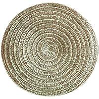 BESTONZON Posavasos redondos manteles tejido de algodón para decorar mesa de bar cocina salón(oro