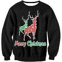 FOOBRTOPOO Novedad Navidad Sudadera navideña Deporte de Invierno Sudaderas Tops Outwear Elk Impreso Pullover Tops Navidad Unisex Manga Larga O-Cuello Pullover Blusa-XL (Color : Colorful, tamaño : XL)