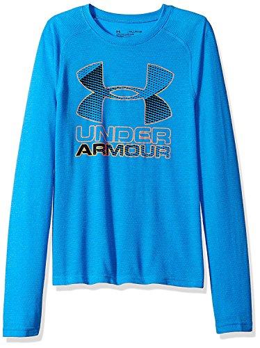 Under Armour Jungen Hybrid Big Logo LS T Langarmshirt, Steel, YXL