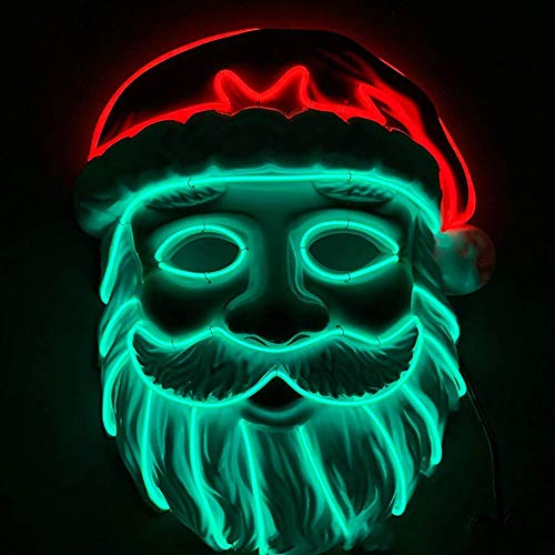 Halloween Für Up Kostüm Ohne Dress - TongNS1 LED Halloween Maske Santa Maske Kostüm Rolle Dress Up,Kunststoff Multi-Color-Auswahl,Geeignet für Kostümparty Cosplay Weihnachten Karneval Batteriebetrieben (ohne Batterie)