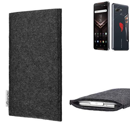 flat.design Handy Hülle Porto für Asus ROG Phone handgefertigte Handytasche Filz Tasche Schutz Case fair dunkelgrau