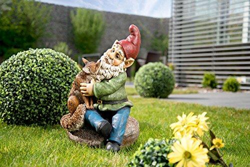 Royal Gardineer Zwerg für Garten: Gartenzwerg Olli mit Fuchs, handbemalt (Lustige Gartenzwerge)