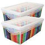 2 Stück Curver Aufbewahrungsbox mit Deckel Utensilienbox Kunststoff Transparent Stifte Dekor 5,7 Liter