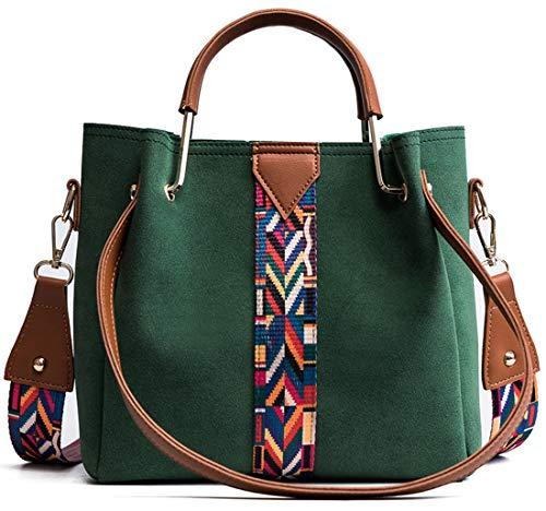 Pteng Stylischer Ethno Handtaschen mit Farbig Breiter Schultergurt Damentaschenmit Metallisch Griff Multi-Tasche Umhängetasche Einfach Frauentasche Henkeltaschen (Grün) -