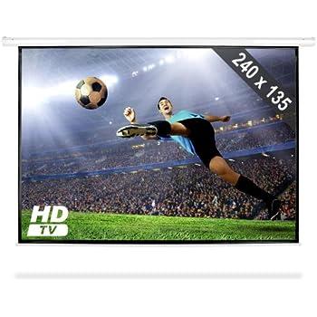 Frontstage Écran de projection déroulant (toile de 240 x 135 cm pour projecteur home cinema HDTV, facteur de gain 1.0, diagonale de 274cm, format 16:9)
