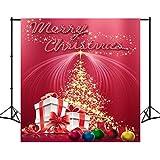 8X18ft Polyester Rot Weihnachten Foto Hintergrund Beleuchtung Sterne Feuerwerk Geschenke Ball Fotografie Hintergrund Studio Requisiten