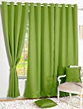 Story@Home Blackout Solid 2-Piece Faux Silk Door Curtain Set - 7ft, Forest Green