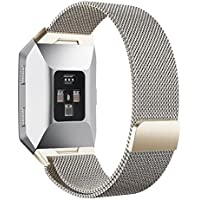 """Fitbit Ionic armband,PUGO TOP Milanese Loop Magnet Edelstahl Armband Strap Band für Fitbit Ionic Smartwatch (Royal Gold Large:6.5""""-9.9"""")"""