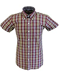ecbc0b28 Relco Mens Short Sleeved Retro Button Down Shirts Burgundy/Mustard