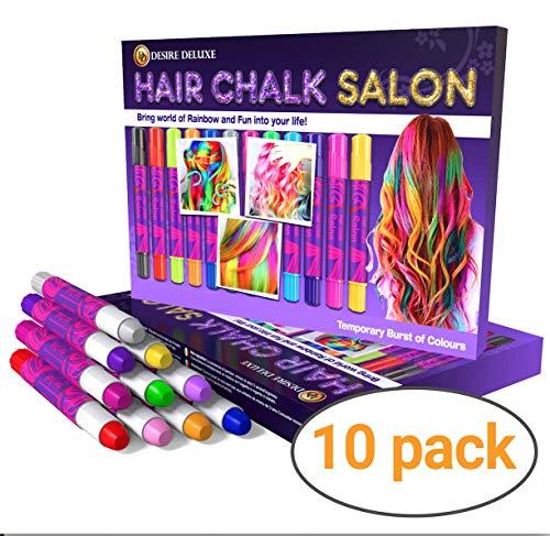 Desire Deluxe Hair Chalk Geschenke für mädchen, Haarkreide zum Haare Färben Spielzeug für Weihnachten, 10 auswaschbare Haarfärbe-Stifte, für Fasching, für Kinder im Alter von 3 4 5 6 7 8 ()