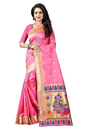 Shree Sanskruti Tassar Silk Saree With Blouse Piece (Paithani 3 Light Pink_Pink_Free...