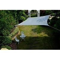 Cool Area Toldo vela de sombra cuadrado 5 x 5 metros protección rayos UV, resistente y transpirable (varios colores y medidas), Color plateado
