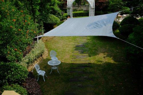 Cool Area Toldo Vela de Sombra Cuadrado 5 x 5 Metros protección Rayos UV, Resistente y Transpirable Medidas, Color Plateado
